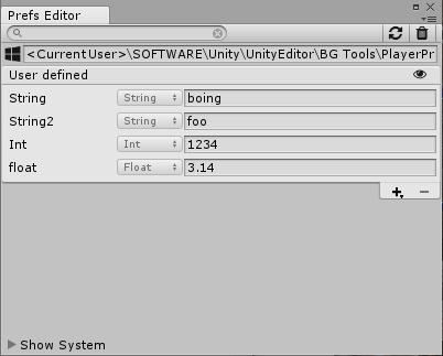 Preference editor window